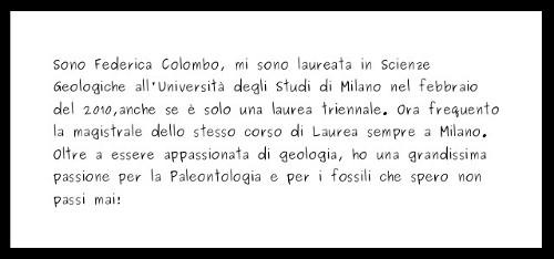 Sono Federica Colombo, mi sono laureata in Scienze Geologiche all'Università degli Studi di Milano nel febbraio del 2010,anche se è solo una laurea triennale. Ora frequento la magistrale dello stesso corso di Laurea sempre a Milano. Oltre a essere appassionata di geologia, ho una grandissima passione per la Paleontologia e per i fossili che spero non passi mai!