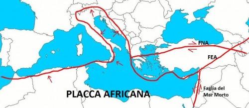 Il confine tra la placca africana e quella europea nel Mediterraneo. Le frecce indicano il movimento delle placche.