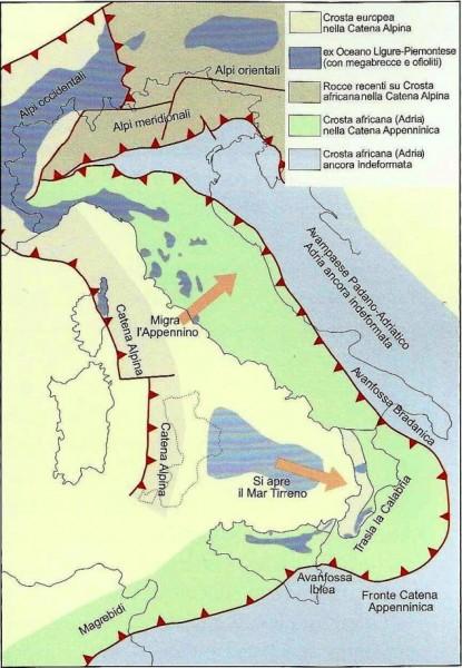 Questa bellissima carta, tratta dal libro SI forma, SI deforma, SI modella di C. Venturini, mostra le principali zone dello stivale in cui la placca africana va in subduzione sotto l'Europa (linee rosse a  triangoli).