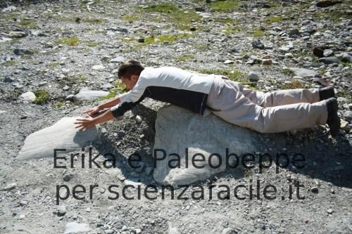 Paleobeppe mostra la direzione del flusso glaciale sulle rocce in posto soggette all'esarazione glaciale