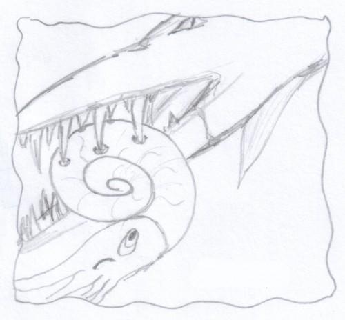 Un Rettile Marino addenta un'Ammonite